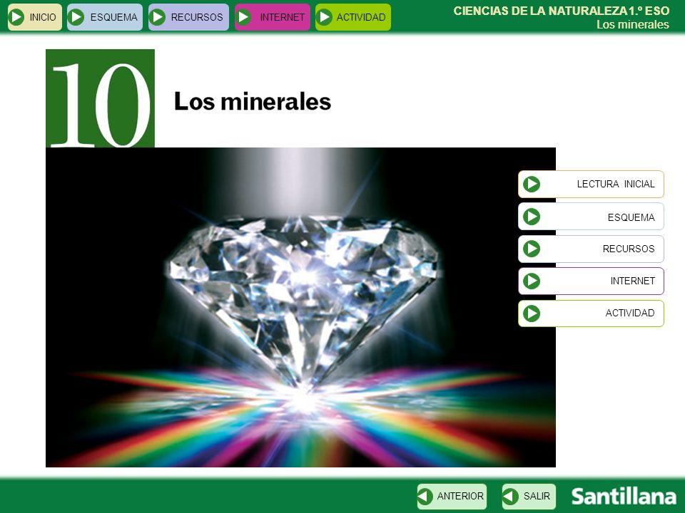 CIENCIAS DE LA NATURALEZA 1.º ESO Los minerales INICIOESQUEMARECURSOSINTERNETACTIVIDAD CIENCIAS DE LA NATURALEZA 1.º ESO Los minerales LECTURA INICIAL