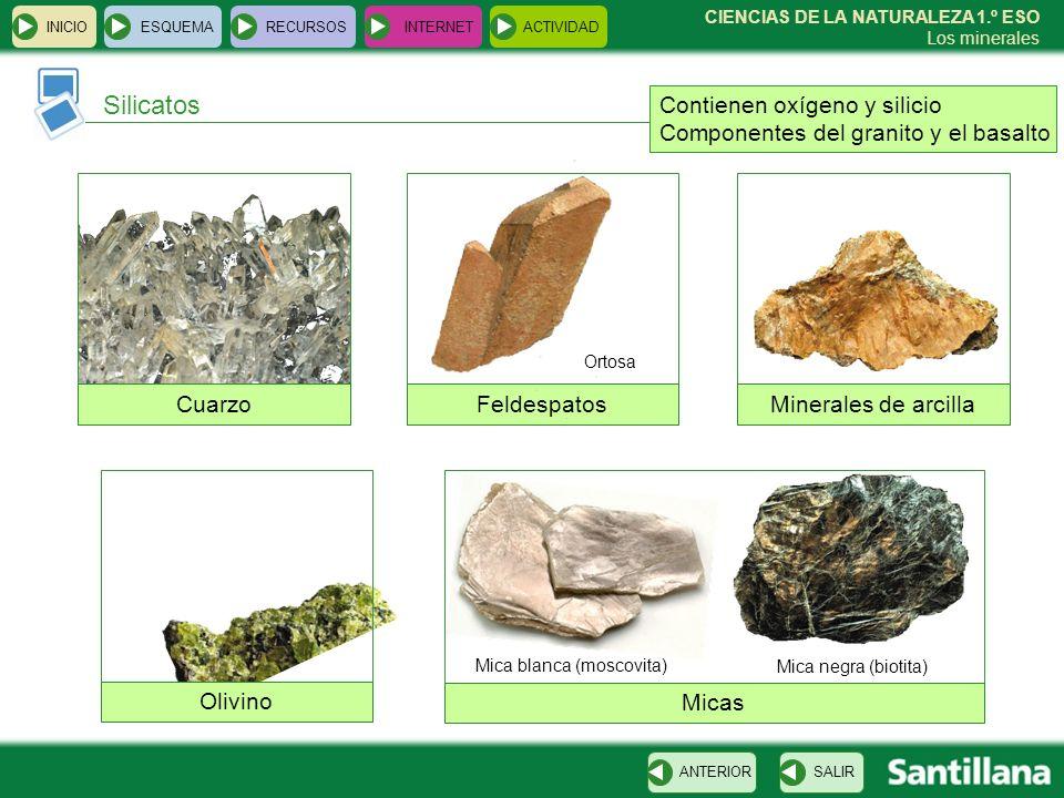 CIENCIAS DE LA NATURALEZA 1.º ESO Los minerales INICIOESQUEMARECURSOSINTERNETACTIVIDAD Silicatos SALIRANTERIOR Contienen oxígeno y silicio Componentes