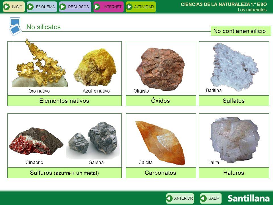 CIENCIAS DE LA NATURALEZA 1.º ESO Los minerales No silicatos INICIOESQUEMARECURSOSINTERNETACTIVIDAD SALIRANTERIOR No contienen silicio Elementos nativ