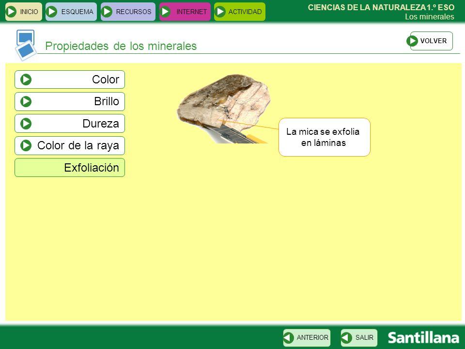 CIENCIAS DE LA NATURALEZA 1.º ESO Los minerales Propiedades de los minerales INICIOESQUEMARECURSOSINTERNETACTIVIDAD SALIRANTERIOR ColorBrilloDurezaCol