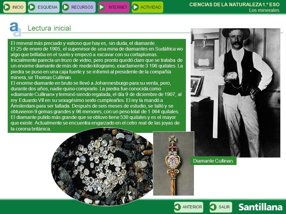 CIENCIAS DE LA NATURALEZA 1.º ESO Los minerales El mineral más preciado y valioso que hay es, sin duda, el diamante. El 25 de enero de 1905, el superv