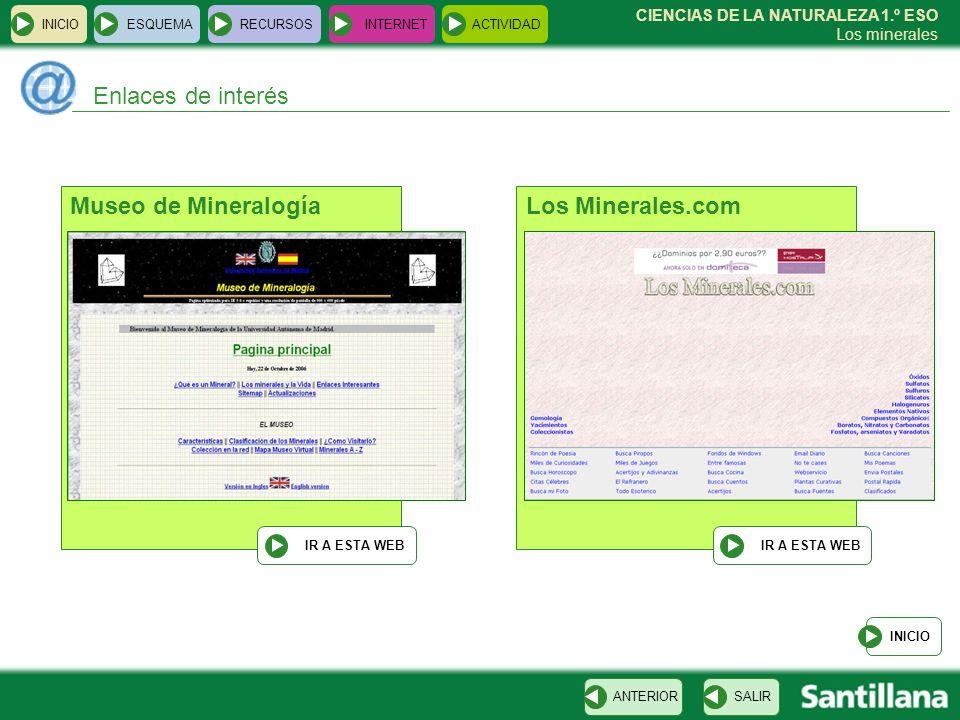 CIENCIAS DE LA NATURALEZA 1.º ESO Los minerales INICIOESQUEMARECURSOSINTERNETACTIVIDAD Enlaces de interés INICIO SALIRANTERIOR Los Minerales.com IR A
