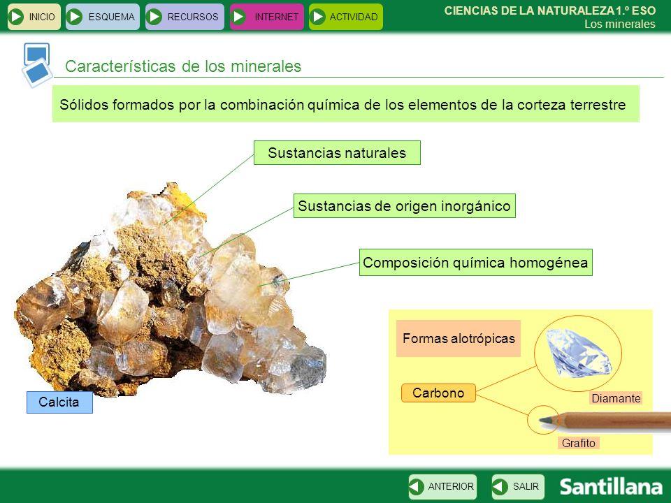 CIENCIAS DE LA NATURALEZA 1.º ESO Los minerales Características de los minerales INICIOESQUEMARECURSOSINTERNETACTIVIDAD SALIRANTERIOR Sólidos formados