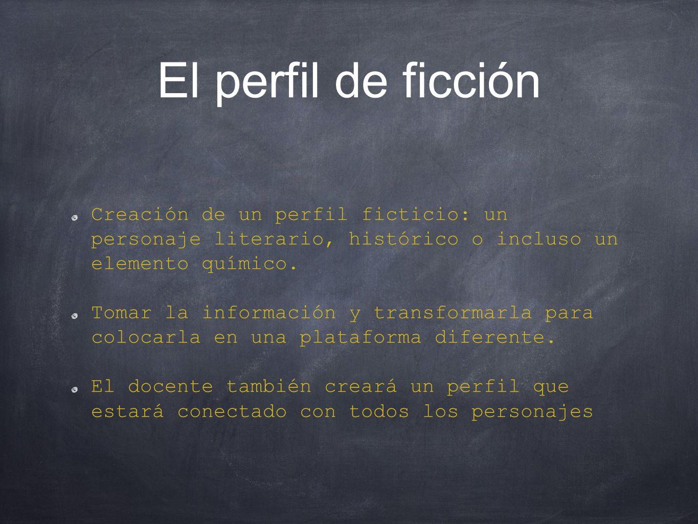 El perfil de ficción Creación de un perfil ficticio: un personaje literario, histórico o incluso un elemento químico.