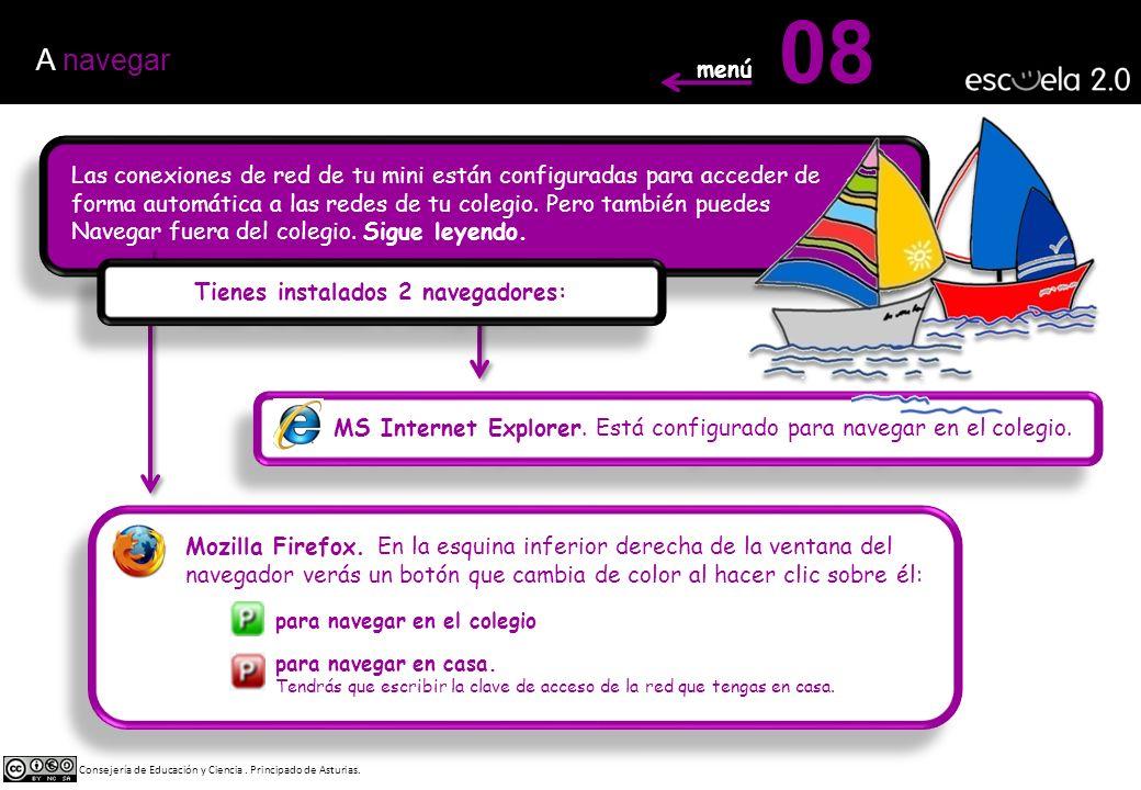 08 MS Internet Explorer. Está configurado para navegar en el colegio.
