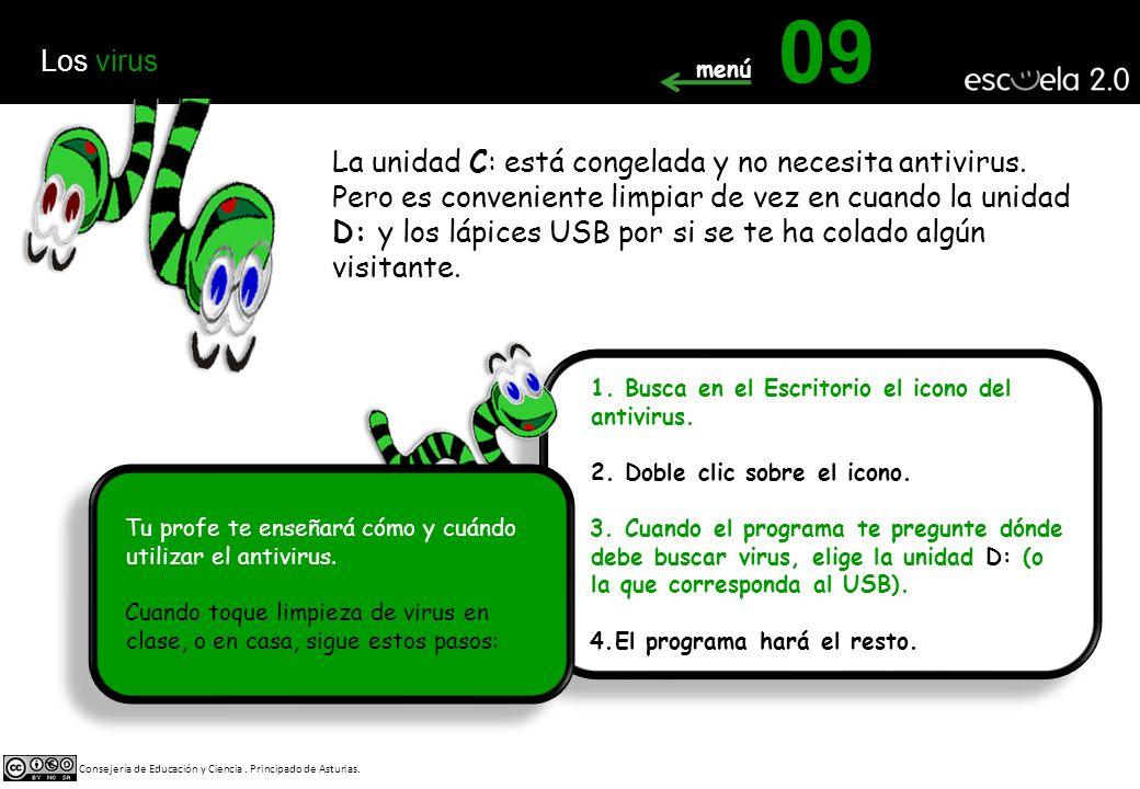 La unidad C: está congelada y no necesita antivirus.
