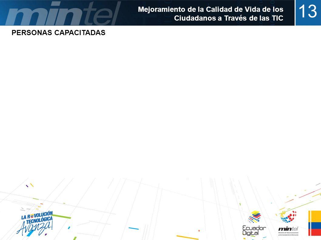 13 Mejoramiento de la Calidad de Vida de los Ciudadanos a Través de las TIC Mas de 45.000 personas capacitadas en fundamentos de operación y manejo bá