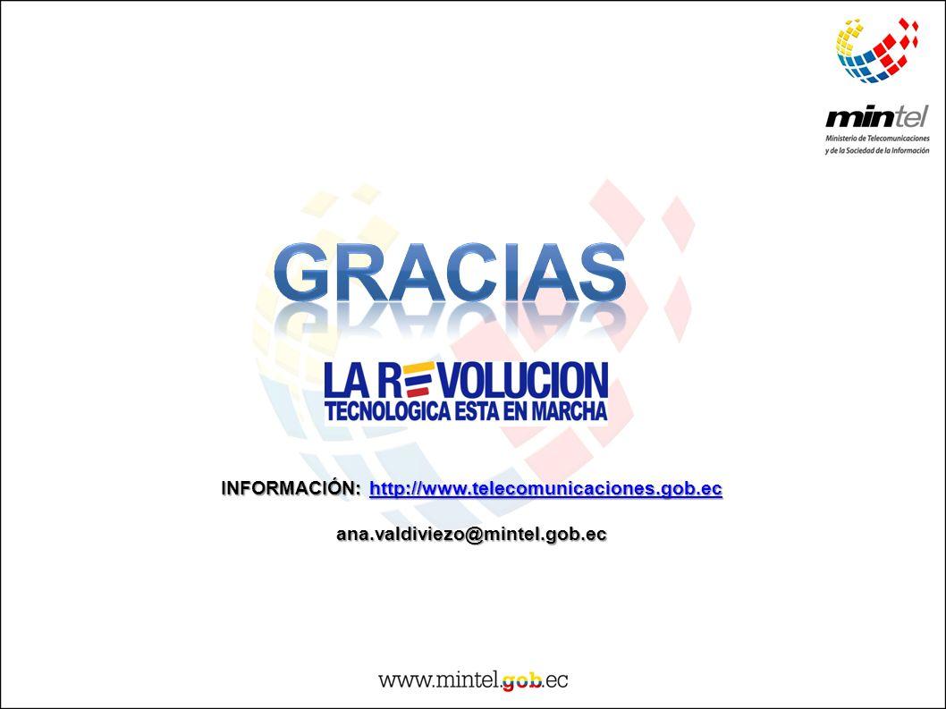 INFORMACIÓN: http://www.telecomunicaciones.gob.ec http://www.telecomunicaciones.gob.ec ana.valdiviezo@mintel.gob.ec