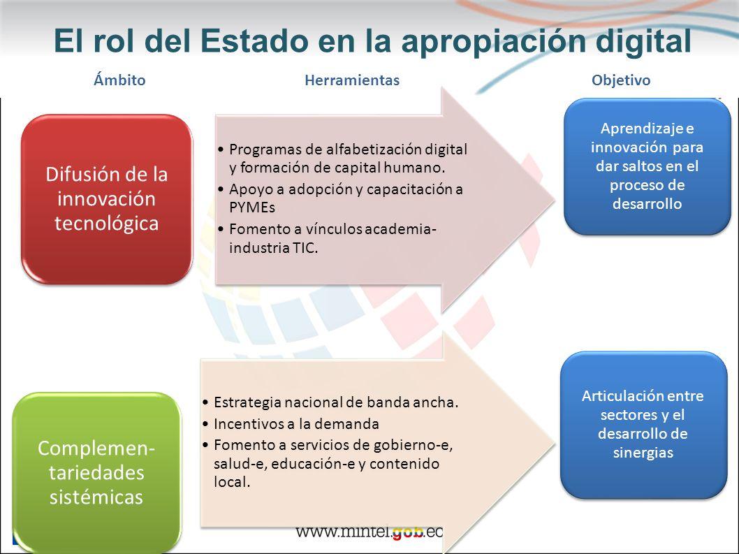 El rol del Estado en la apropiación digital Programas de alfabetización digital y formación de capital humano. Apoyo a adopción y capacitación a PYMEs