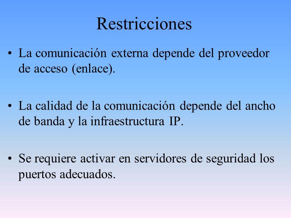 Restricciones La comunicación externa depende del proveedor de acceso (enlace). La calidad de la comunicación depende del ancho de banda y la infraest