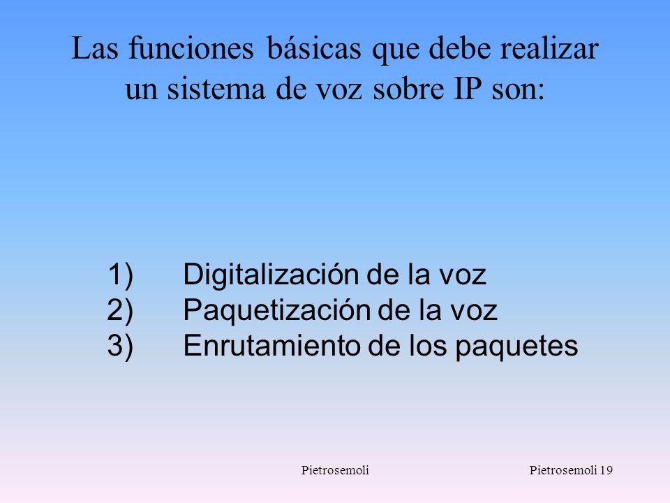 PietrosemoliPietrosemoli 19 Las funciones básicas que debe realizar un sistema de voz sobre IP son: 1) Digitalización de la voz 2) Paquetización de la