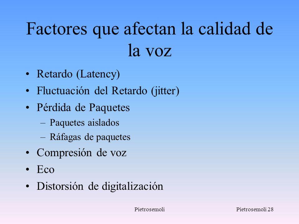 PietrosemoliPietrosemoli 28 Factores que afectan la calidad de la voz Retardo (Latency) Fluctuación del Retardo (jitter) Pérdida de Paquetes –Paquetes