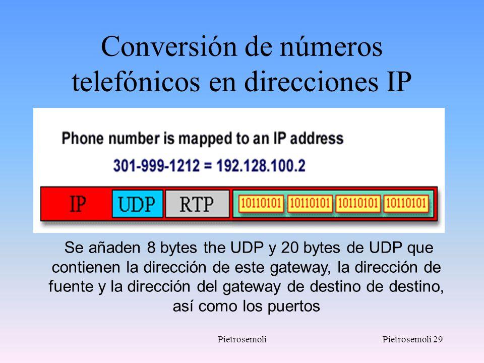 PietrosemoliPietrosemoli 29 Conversión de números telefónicos en direcciones IP Se añaden 8 bytes the UDP y 20 bytes de UDP que contienen la dirección