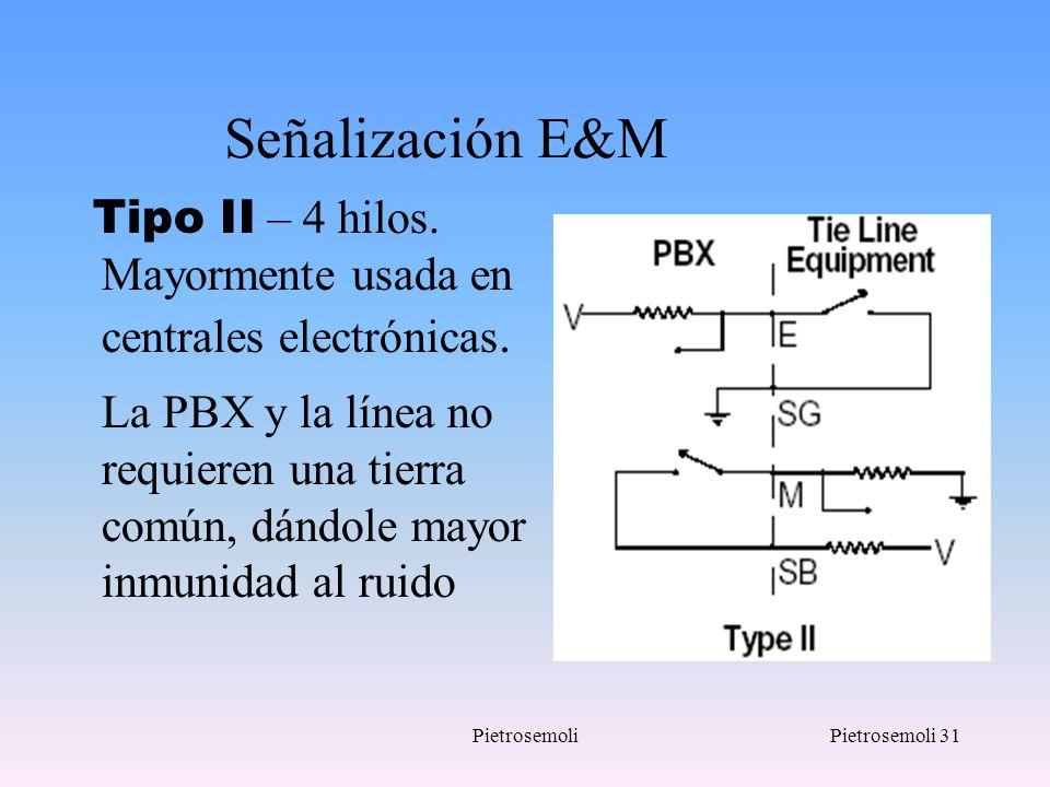 PietrosemoliPietrosemoli 31 Señalización E&M Tipo II – 4 hilos. Mayormente usada en centrales electrónicas. La PBX y la línea no requieren una tierra