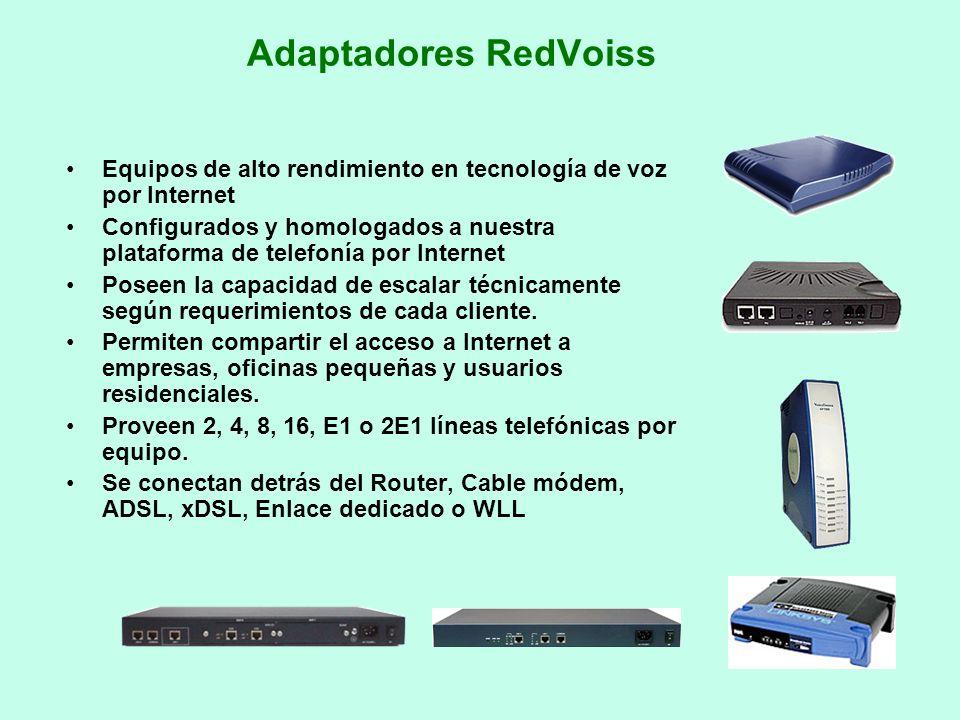 Adaptadores RedVoiss Equipos de alto rendimiento en tecnología de voz por Internet Configurados y homologados a nuestra plataforma de telefonía por In