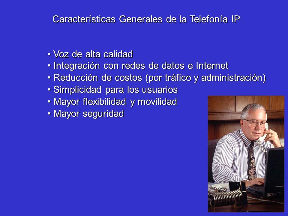 Características Generales de la Telefonía IP Reducción de costos (por tráfico y administración) Reducción de costos (por tráfico y administración) Sim