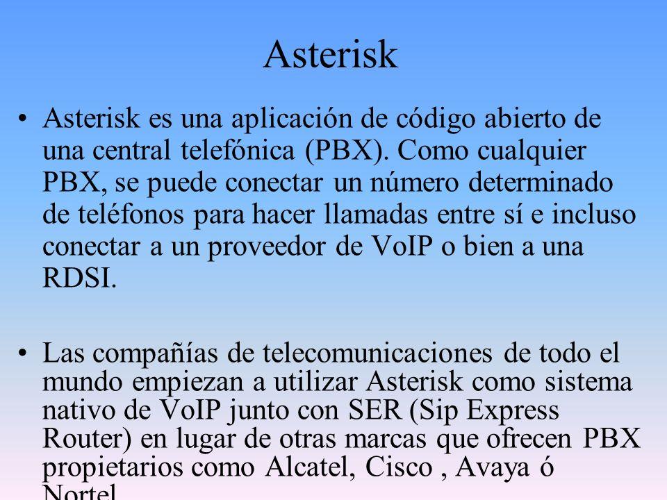 Asterisk Asterisk incluye muchas características anteriormente sólo disponibles en caros sistemas propietarios PBX: buzón de voz, conferencias, IVR, distribución automática de llamadas, y otras muchas más.