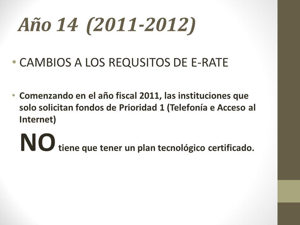 Año 14 (2011-2012) CAMBIOS A LOS REQUSITOS DE E-RATE Comenzando en el año fiscal 2011, las instituciones que solo solicitan fondos de Prioridad 1 (Tel