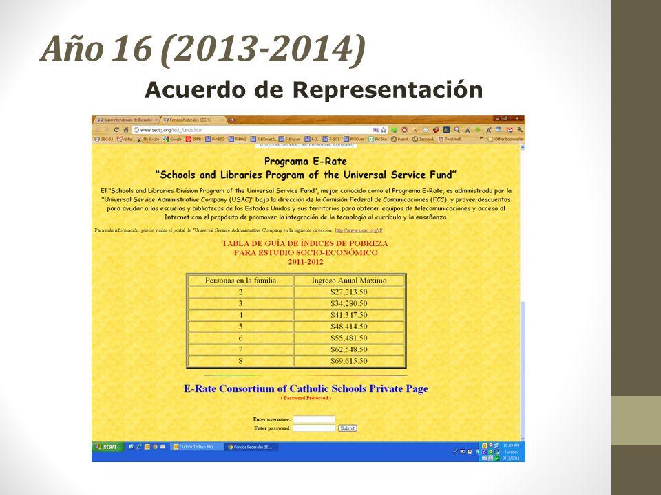 Año 16 (2013-2014) Acuerdo de Representación