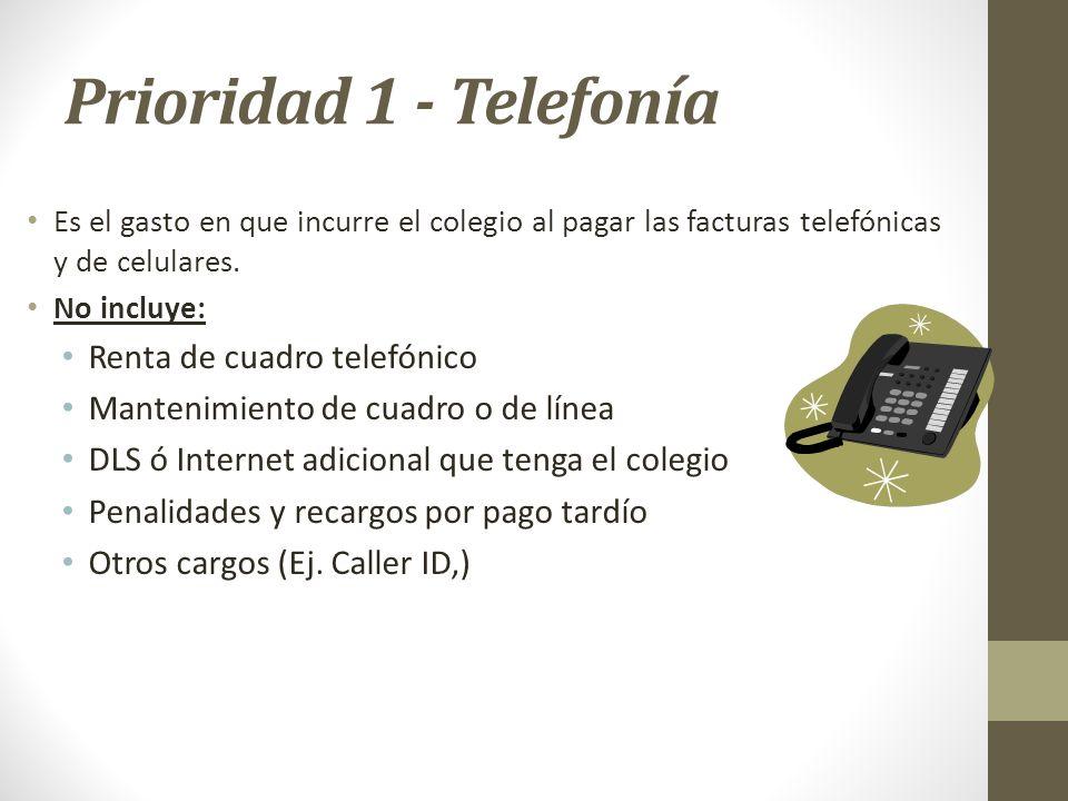 Prioridad 1 - Telefonía Es el gasto en que incurre el colegio al pagar las facturas telefónicas y de celulares. No incluye: Renta de cuadro telefónico