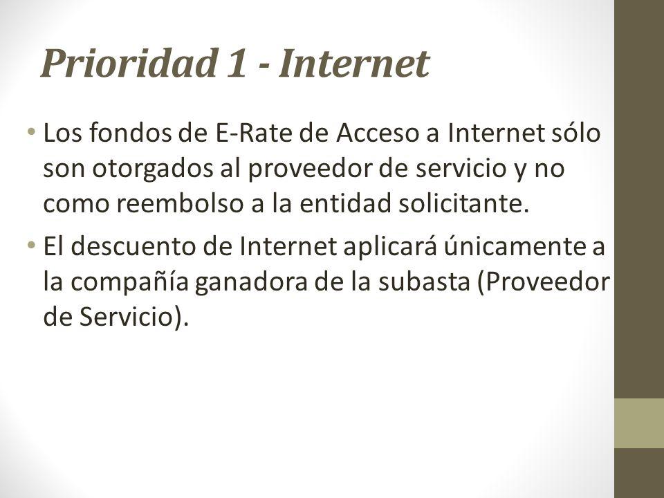 Prioridad 1 - Internet Los fondos de E-Rate de Acceso a Internet sólo son otorgados al proveedor de servicio y no como reembolso a la entidad solicita