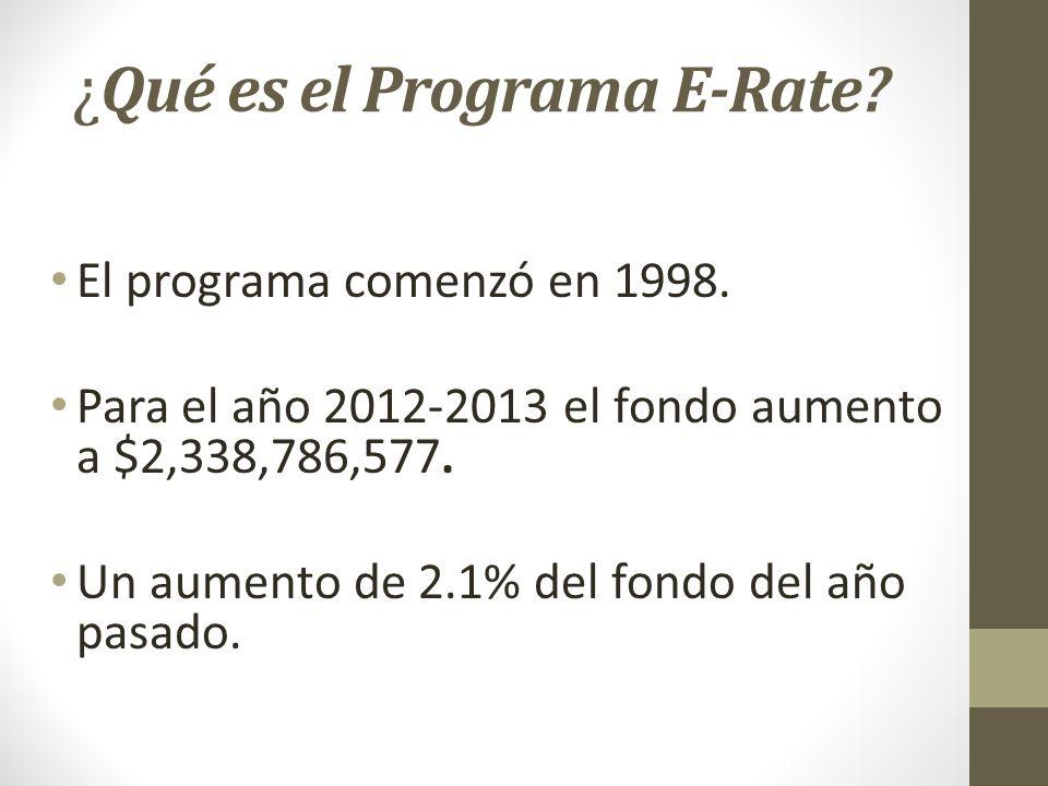 ¿ Qué es el Programa E-Rate? El programa comenzó en 1998. Para el año 2012-2013 el fondo aumento a $2,338,786,577. Un aumento de 2.1% del fondo del añ