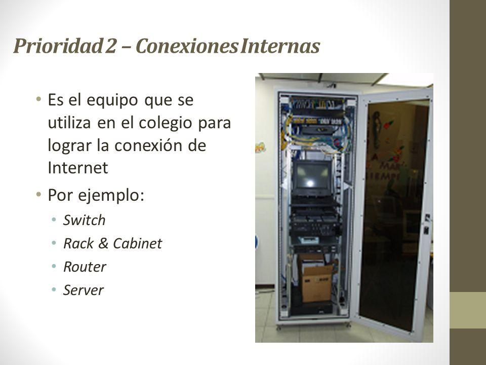 Prioridad 2 – Conexiones Internas Es el equipo que se utiliza en el colegio para lograr la conexión de Internet Por ejemplo: Switch Rack & Cabinet Rou
