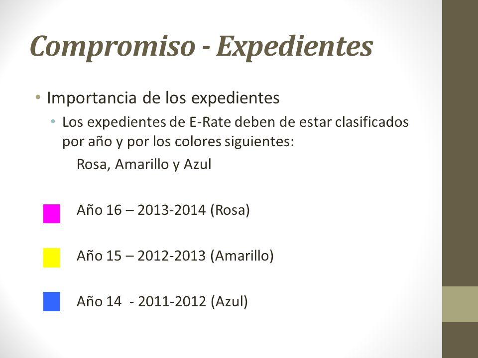 Compromiso - Expedientes Importancia de los expedientes Los expedientes de E-Rate deben de estar clasificados por año y por los colores siguientes: Ro
