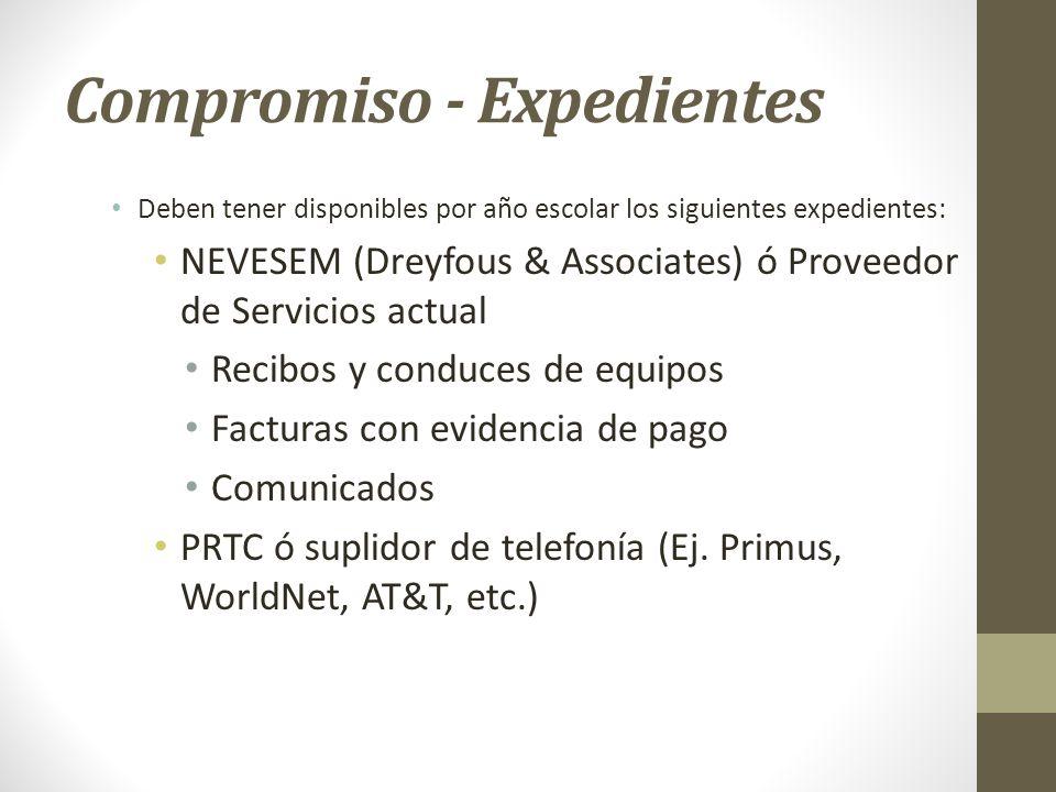 Compromiso - Expedientes Deben tener disponibles por año escolar los siguientes expedientes: NEVESEM (Dreyfous & Associates) ó Proveedor de Servicios