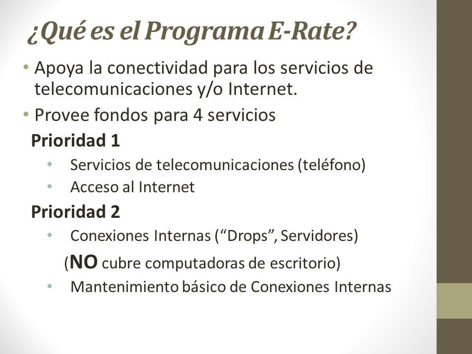 ¿Qué es el Programa E-Rate? Apoya la conectividad para los servicios de telecomunicaciones y/o Internet. Provee fondos para 4 servicios Prioridad 1 Se