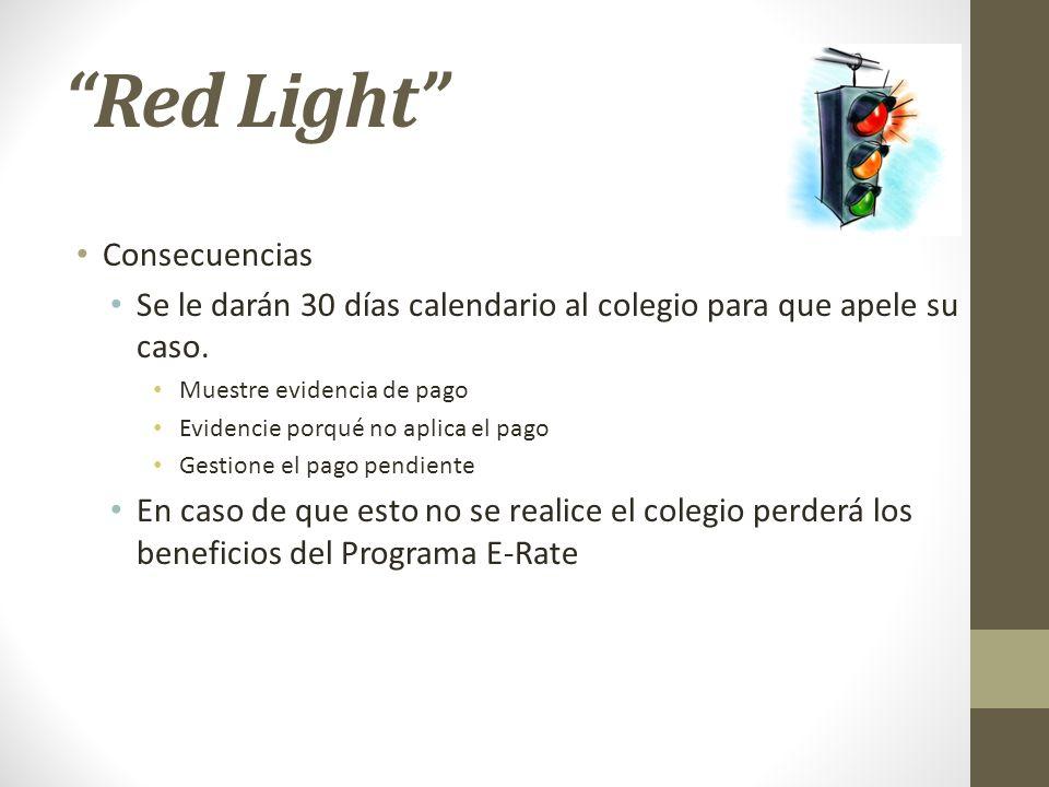 Red Light Consecuencias Se le darán 30 días calendario al colegio para que apele su caso. Muestre evidencia de pago Evidencie porqué no aplica el pago