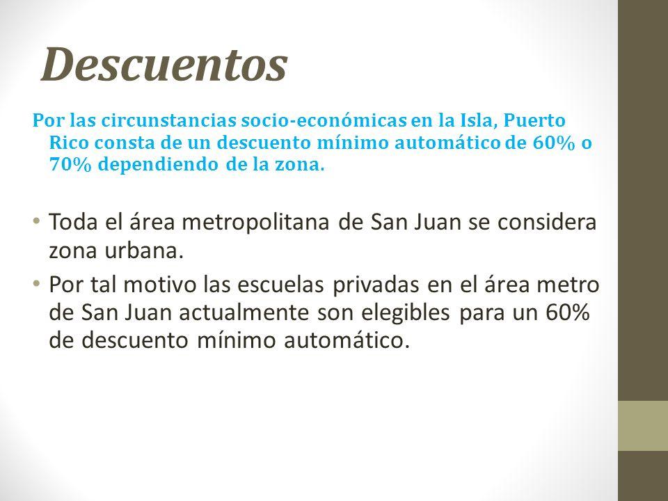 Descuentos Por las circunstancias socio-económicas en la Isla, Puerto Rico consta de un descuento mínimo automático de 60% o 70% dependiendo de la zon