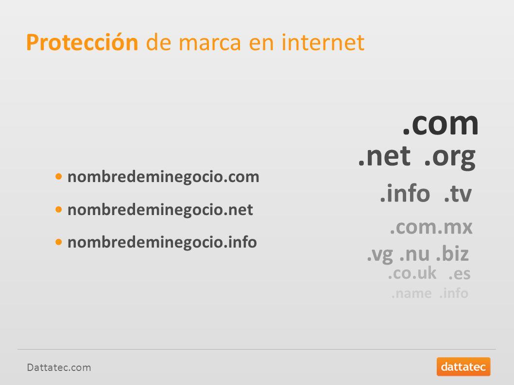Dattatec.com Protección de marca en internet nombredeminegocio.com nombredeminegocio.net nombredeminegocio.info.com.net.org.info.tv.com.mx.vg.nu.biz.co.uk.es.name.info