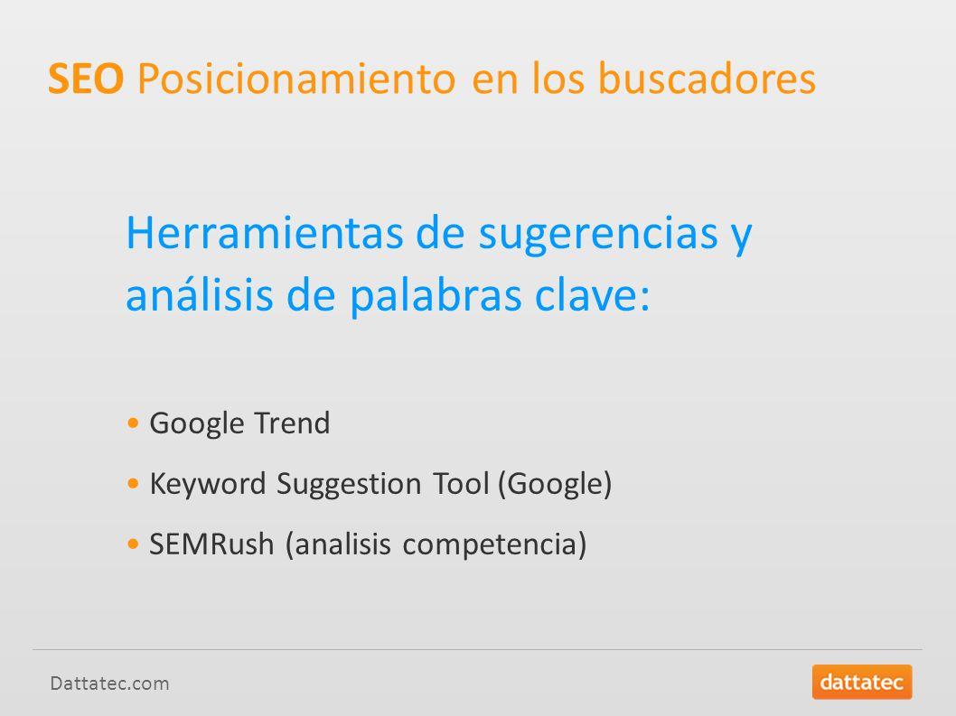 Dattatec.com Herramientas de sugerencias y análisis de palabras clave: Google Trend Keyword Suggestion Tool (Google) SEMRush (analisis competencia) SEO Posicionamiento en los buscadores