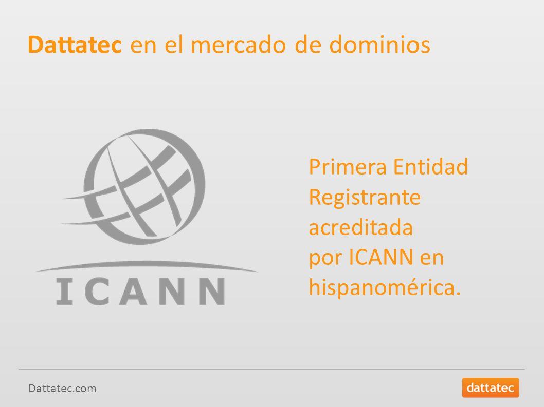 Dattatec.com Dattatec en el mercado de dominios Primera Entidad Registrante acreditada por ICANN en hispanomérica.