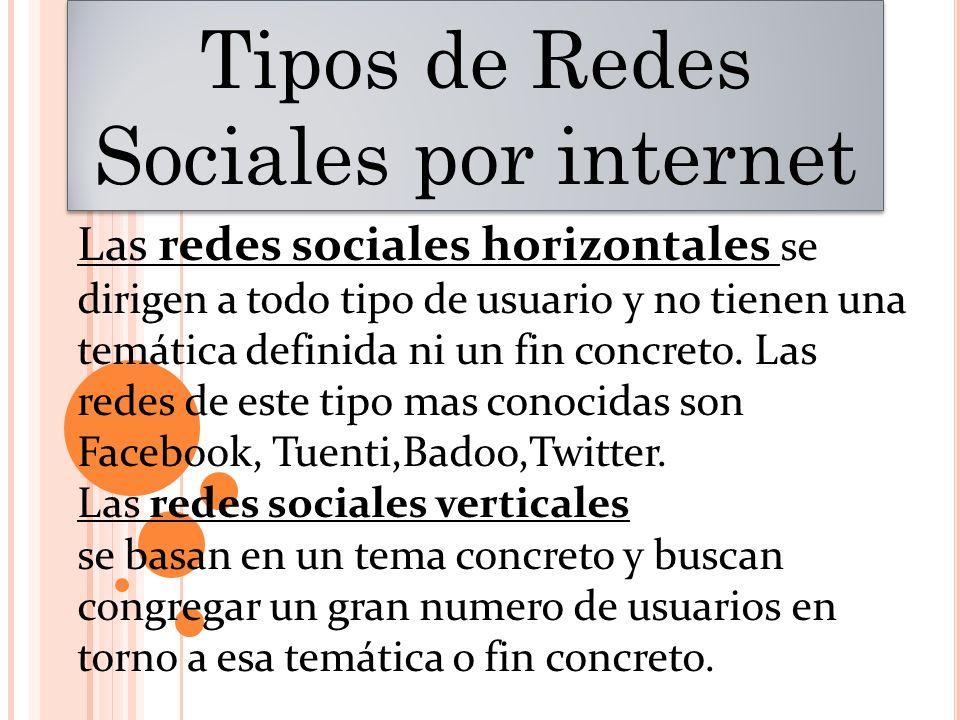 Tipos de Redes Sociales por internet Las redes sociales horizontales se dirigen a todo tipo de usuario y no tienen una temática definida ni un fin con