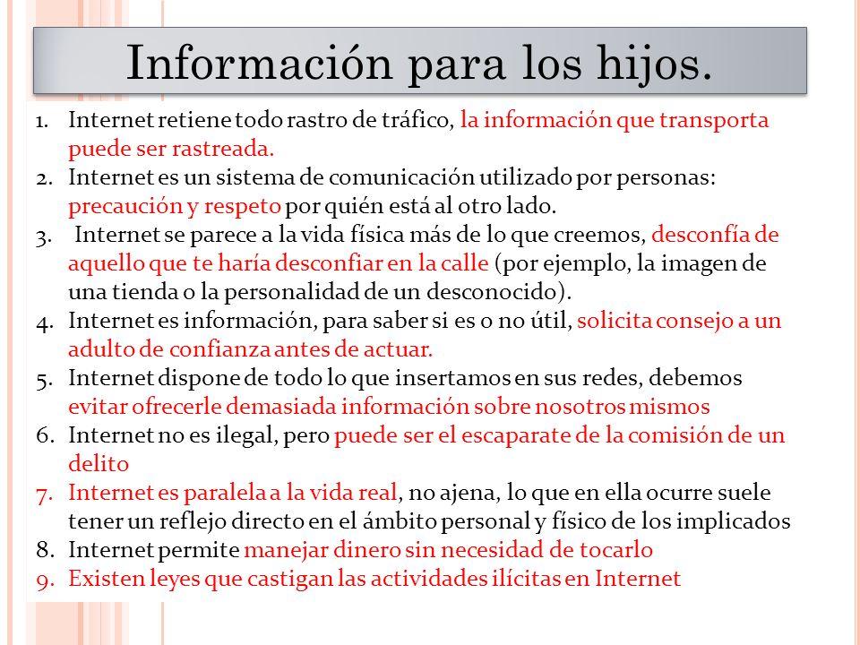 Información para los hijos. 1.Internet retiene todo rastro de tráfico, la información que transporta puede ser rastreada. 2.Internet es un sistema de