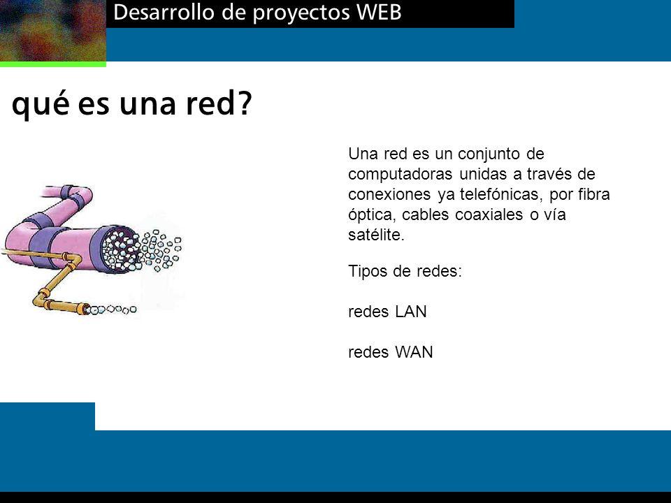 Desarrollo de proyectos WEB qué es una red? Una red es un conjunto de computadoras unidas a través de conexiones ya telefónicas, por fibra óptica, cab