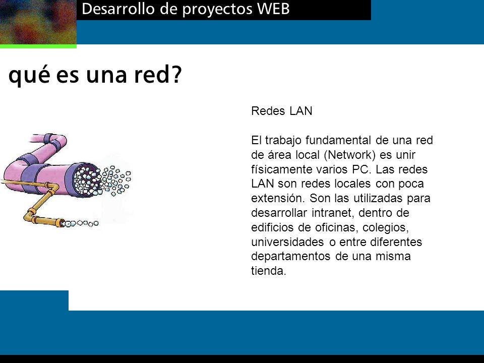 Desarrollo de proyectos WEB qué es una red? Redes LAN El trabajo fundamental de una red de área local (Network) es unir físicamente varios PC. Las red