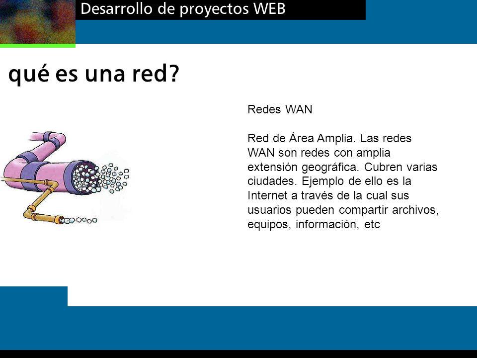 Desarrollo de proyectos WEB qué es una red? Redes WAN Red de Área Amplia. Las redes WAN son redes con amplia extensión geográfica. Cubren varias ciuda