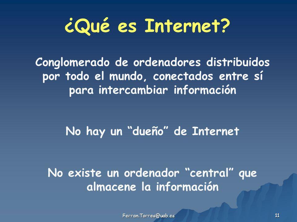 Ferran.Torres@uab.es 11 ¿Qué es Internet? Conglomerado de ordenadores distribuidos por todo el mundo, conectados entre sí para intercambiar informació