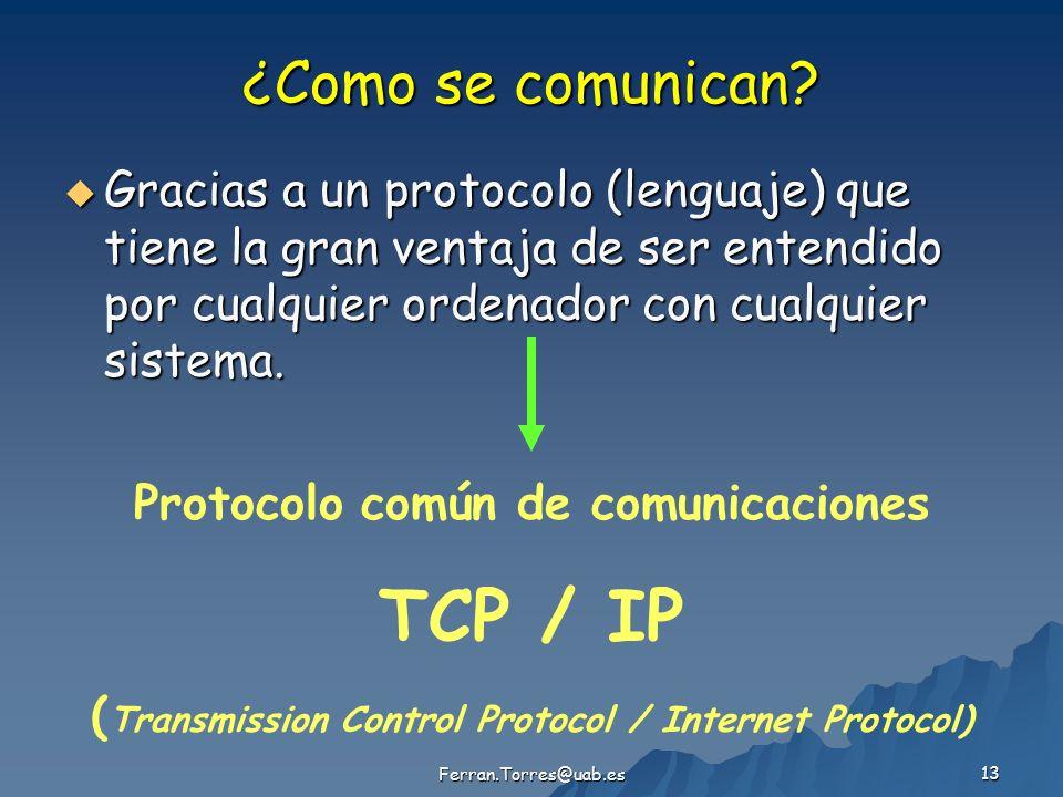 Ferran.Torres@uab.es 13 ¿Como se comunican? Gracias a un protocolo (lenguaje) que tiene la gran ventaja de ser entendido por cualquier ordenador con c