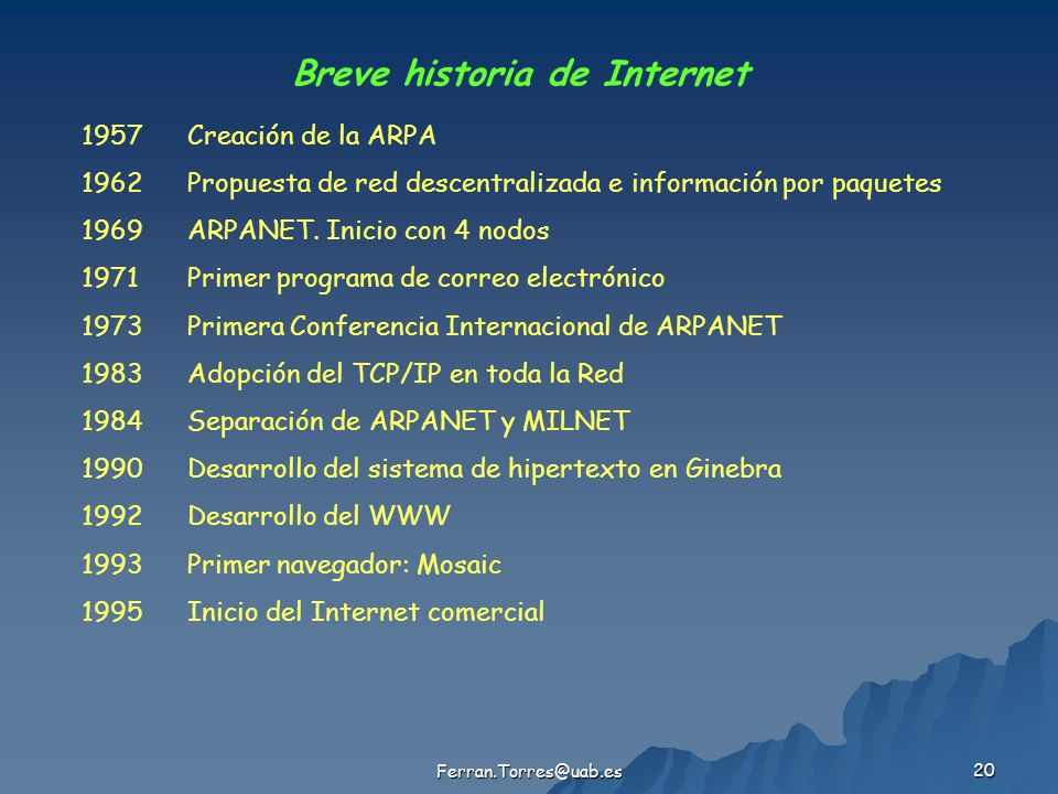 Ferran.Torres@uab.es 20 Breve historia de Internet 1957Creación de la ARPA 1962Propuesta de red descentralizada e información por paquetes 1969ARPANET