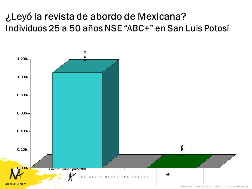 Presentación confidencial prohibido su uso sin autorización de Mediagency® ¿Leyó la revista de abordo de Mexicana.