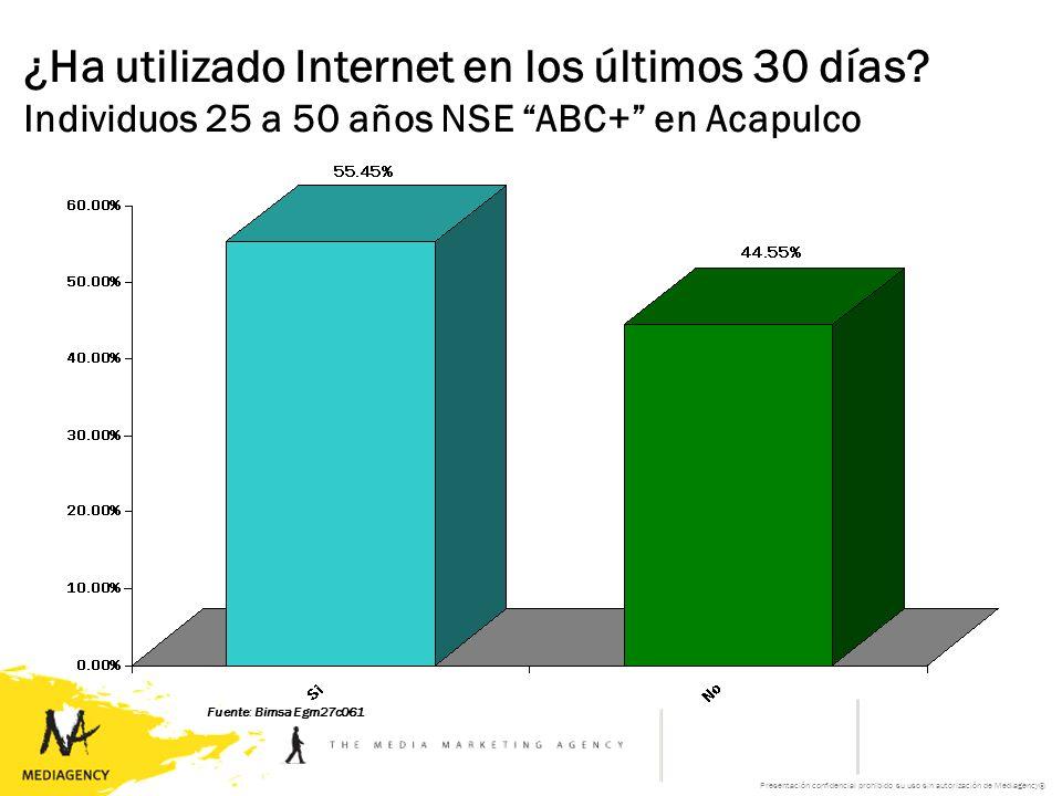 Presentación confidencial prohibido su uso sin autorización de Mediagency® Fuente: Bimsa Egm27c061 ¿Ha utilizado Internet en los últimos 30 días.