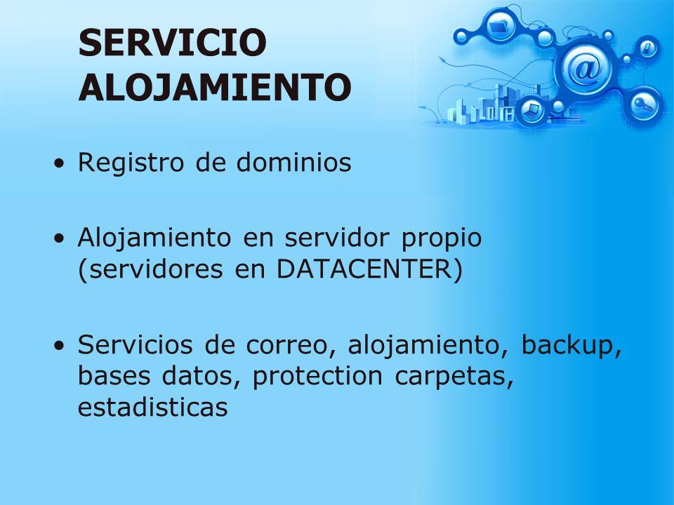 SERVICIO ALOJAMIENTO Registro de dominios Alojamiento en servidor propio (servidores en DATACENTER) Servicios de correo, alojamiento, backup, bases da