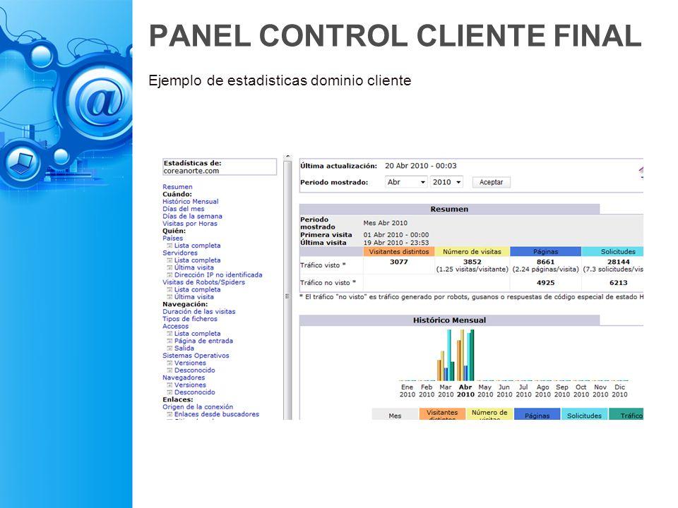 PANEL CONTROL CLIENTE FINAL Ejemplo de estadisticas dominio cliente