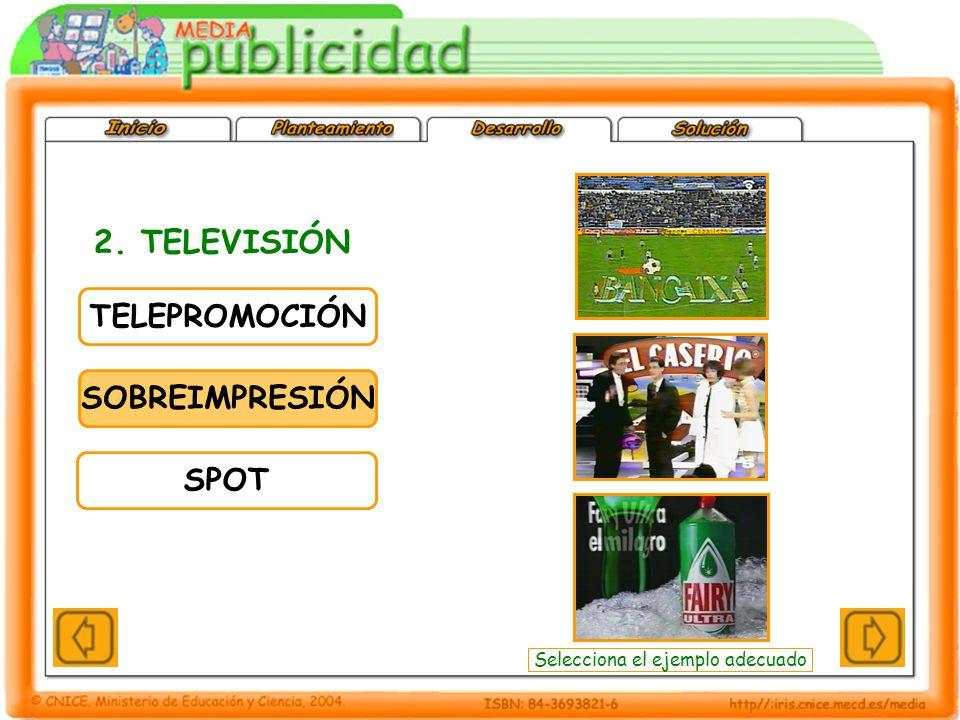 TELEPROMOCIÓN SOBREIMPRESIÓN SPOT 2. TELEVISIÓN Selecciona el ejemplo adecuado