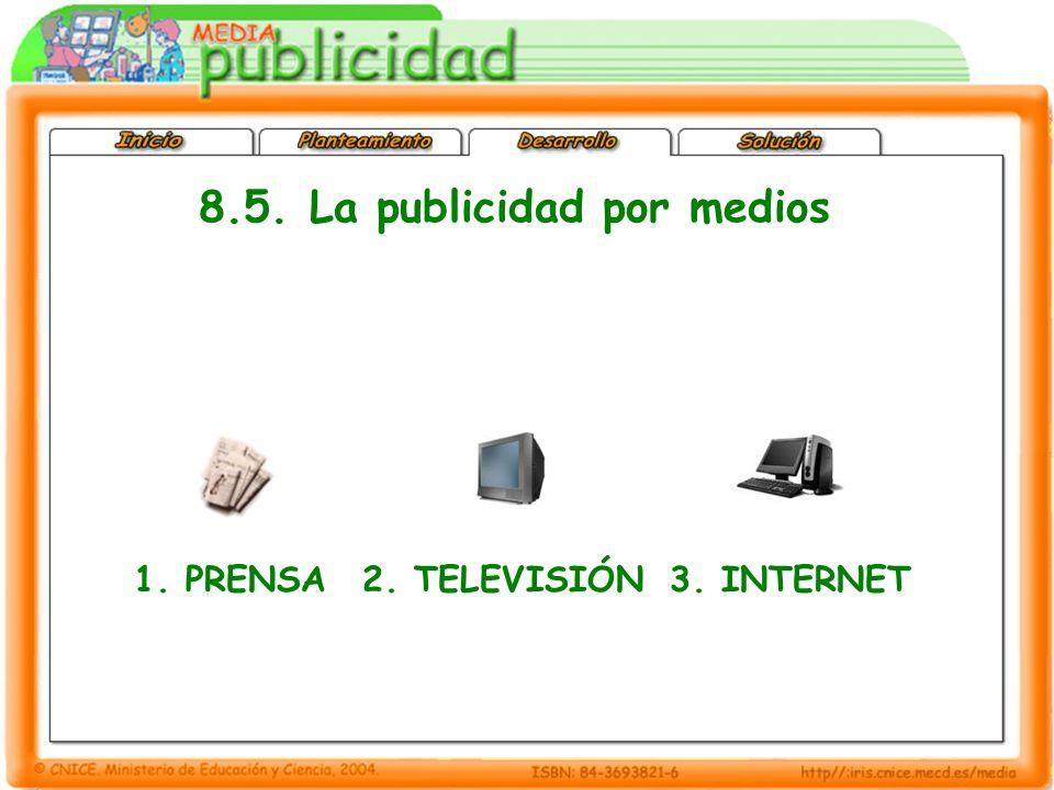 1. PRENSA2. TELEVISIÓN3. INTERNET 8.5. La publicidad por medios