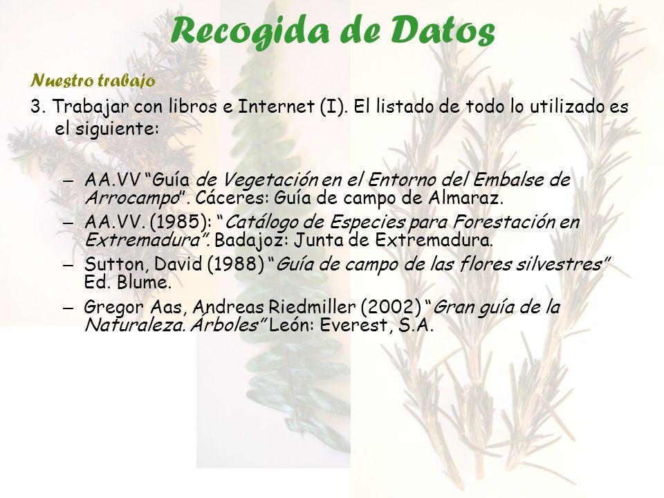 Recogida de Datos Nuestro trabajo 3. Trabajar con libros e Internet (I). El listado de todo lo utilizado es el siguiente: – AA.VV Guía de Vegetación e
